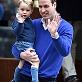 He taught George how to wave to the crowd like the future king that he is.