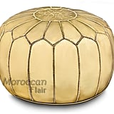 Moroccan Flair Leather Moroccan Pouf in Gold