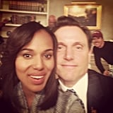 Kerry Washington snapped a selfie with Tony Goldwyn on the set of Scandal. Source: Instagram user kerrywashington