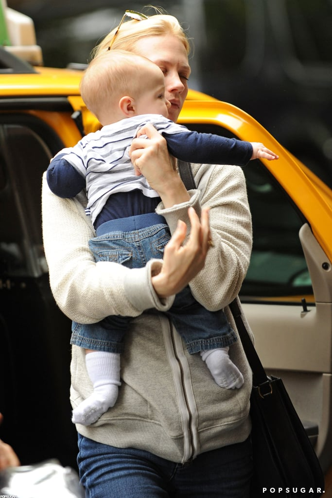 January Jones carried Xander while out and about in NYC.