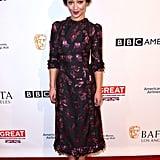 Ruth Negga looked chic in a printed tea-length dress at the BAFTAs.