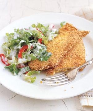 Monday's Leftovers: Crispy Chicken Cutlets & Romaine Salad