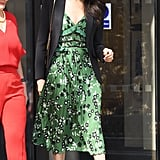 Meghan's Alexander McQueen blazer might've been streamlined, but her kelly green Self-Portrait florals were quite the opposite at the Invictus Games Reception in April 2018.