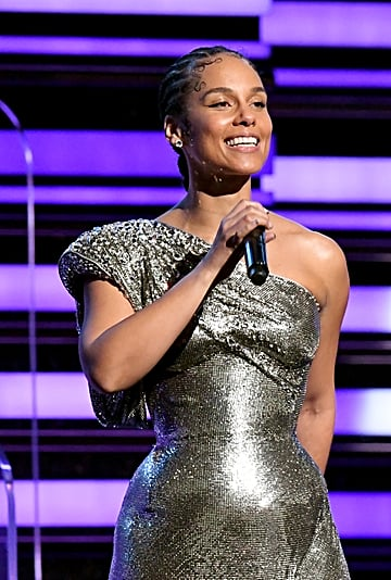 Alicia Keys's Rhinestone Baby Hairs at the 2020 Grammys