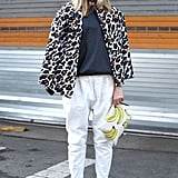Quirky prints gave easy trousers and a blouse a fashion-conscious finish.