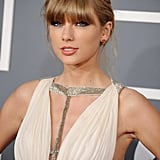 Taylor Swift wore her hair in an braided updo.