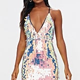 Pretty Little Thing Nude Strappy Plunge Sequin Bodycon Dress