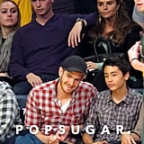 Andrew Garfield had a front row seat at the Lakers game.