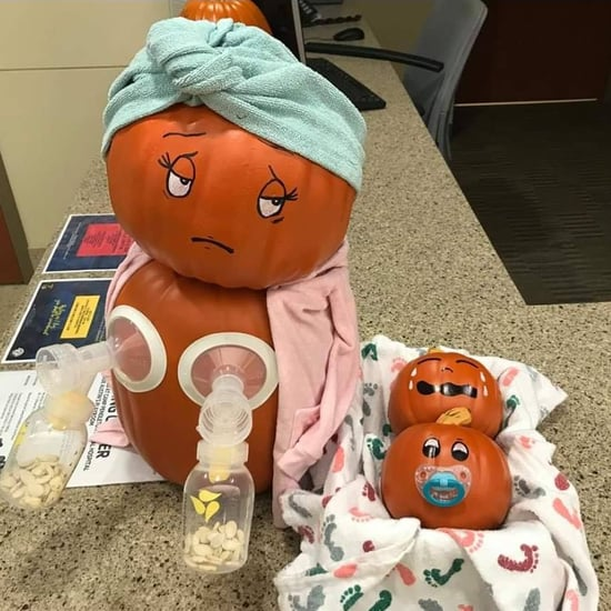 Relatable Breast Pumping Mom Pumpkin Halloween Display