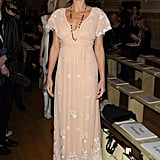 Minnie Driver wore a peach lace-embroidered gown to Temperley London.
