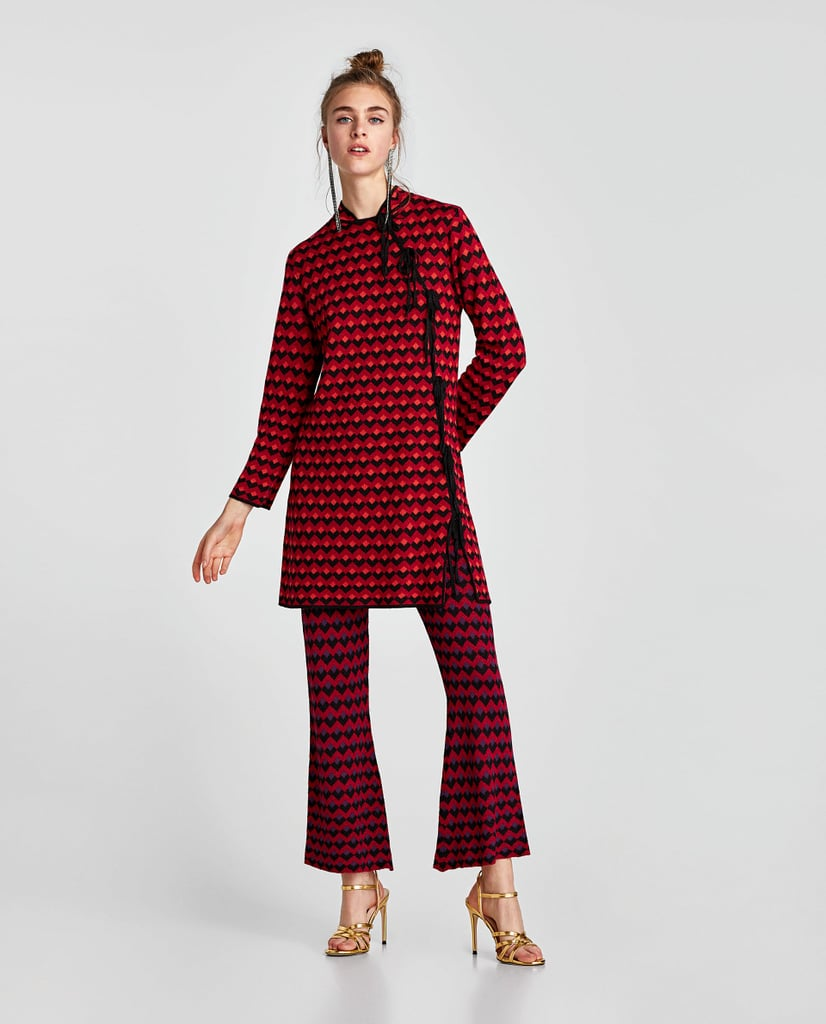 Zara Cropped Jacquard Dress and Trousers