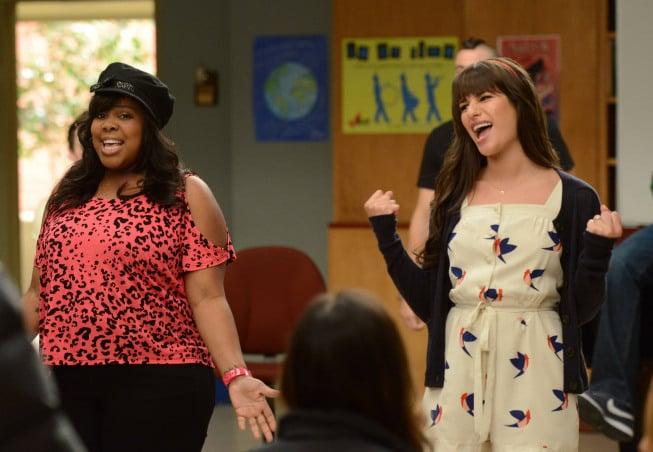 Amber Riley and Lea Michele on Glee. Photo courtesy of Fox