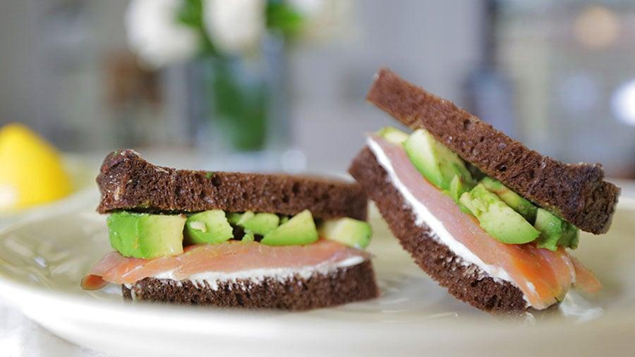 Salmon Wasabi Cream Cheese Sandwich