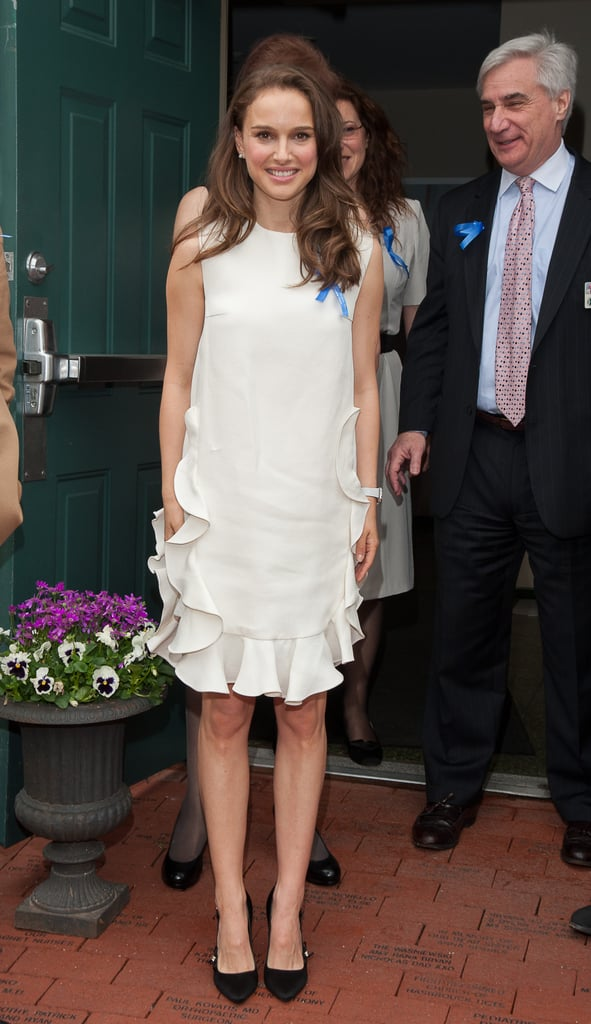 Natalie Portman posed for photos outside of the Audrey Hepburn Children's House in New Jersey this afternoon. She was joined by Audrey's son Sean Ferrer for the event to celebrate the 10th anniversary of the location's opening. Natalie serves as an honorary godmother and an advisory board member for the charity, which helps abused and neglected children.  Natalie's been stepping out when she's not busy with her son, Aleph. Last month, she traveled to Washington DC to speak at the Holocaust Memorial Museum's Elie Wiesel National Tribute Dinner and announced her involvement as an ambassador with Free the Children in Paris.