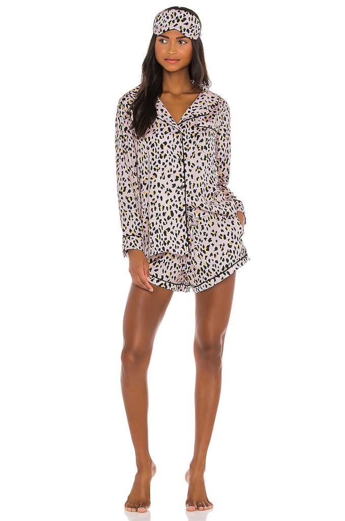 Plush Cheetah Pajama and Eyemask Set