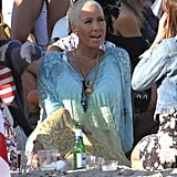 Amber Rose hit the sand for Paris Hilton's Fourth of July party in Malibu.