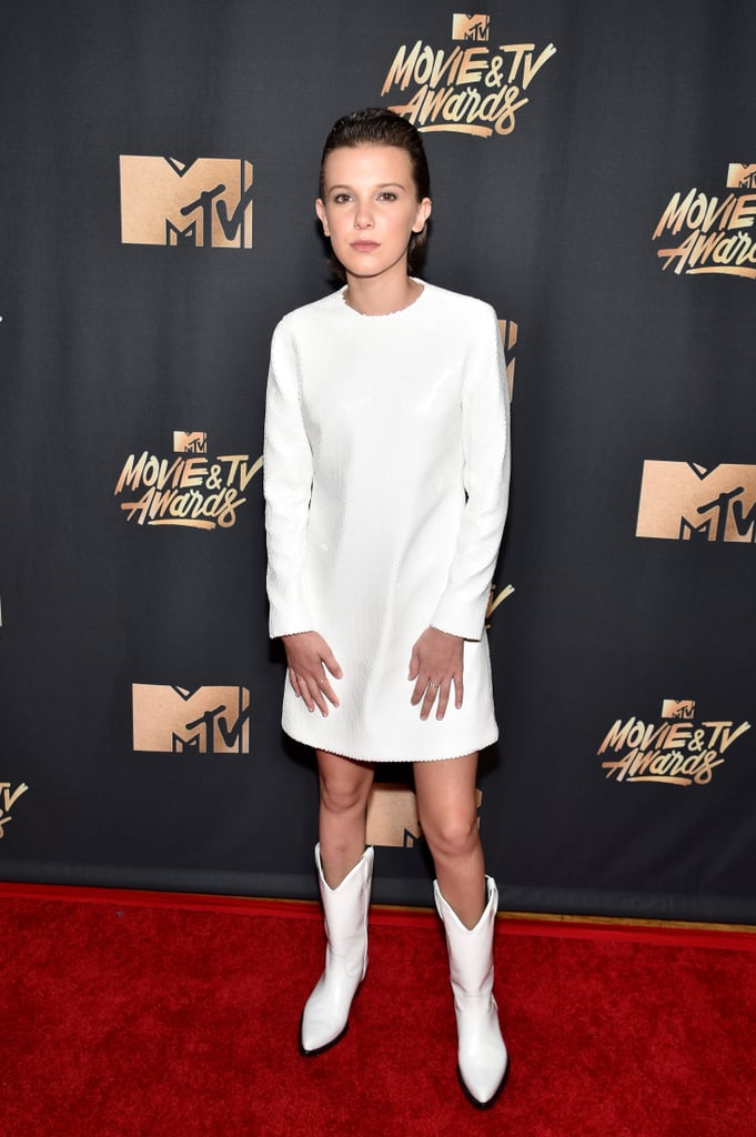 Millie Bobby Brown White Dress MTV Movie Awards 2017