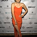 She wore this slitted, slinky orange number to a dinner in New York in 2014.