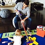 Bill Rancic checked out his Father's Day gift while Duke looked on, probably plotting a mess to make that his daddy could clean up.