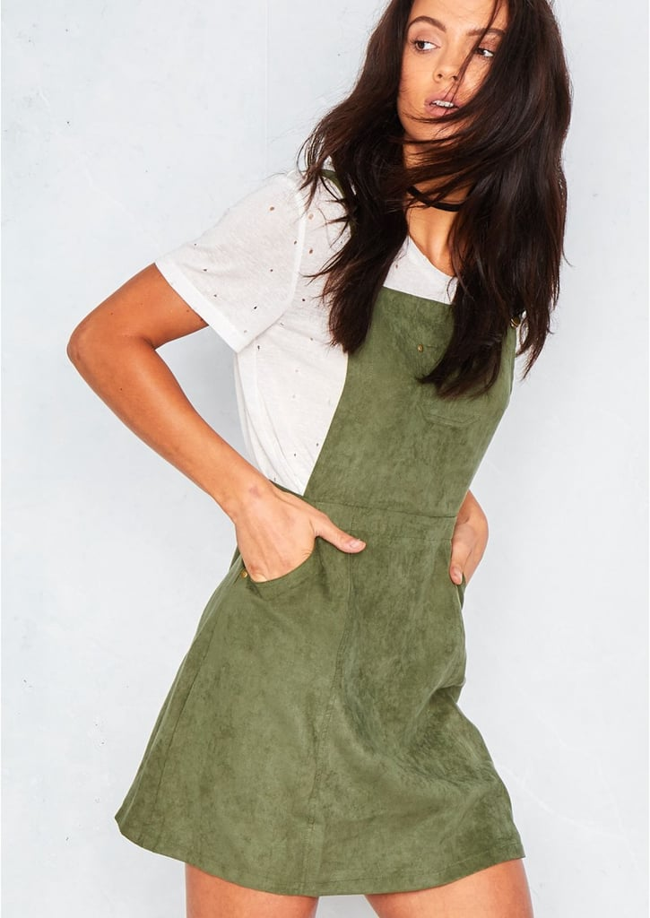 c56f0c4d004 Missy Empire Alita Khaki Suede Pinafore Dress