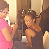 Tyra Banks fooled around while getting beautified for an AMICA shoot. Source: Instagram user tyrabanks