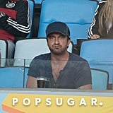 Gerard Butler watched the game from the stands.