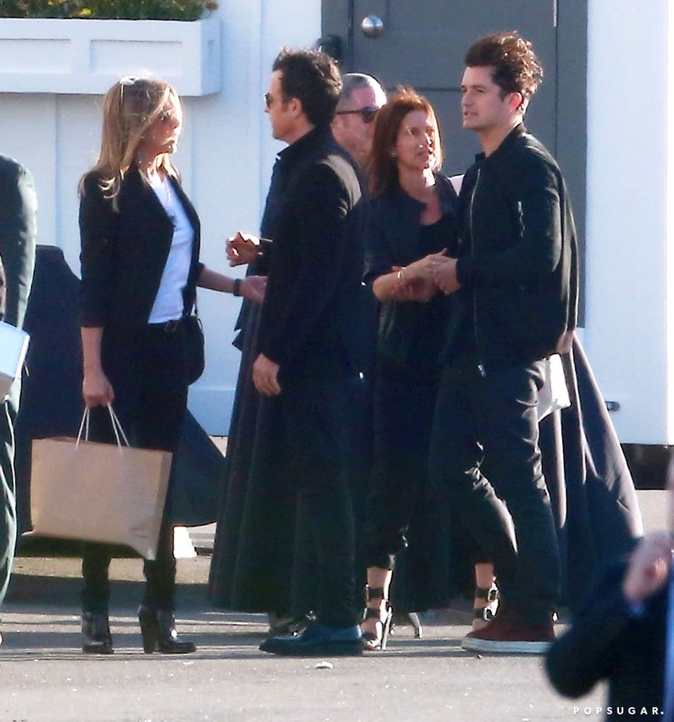 Jennifer Aniston, Justin Theroux, and Orlando Bloom