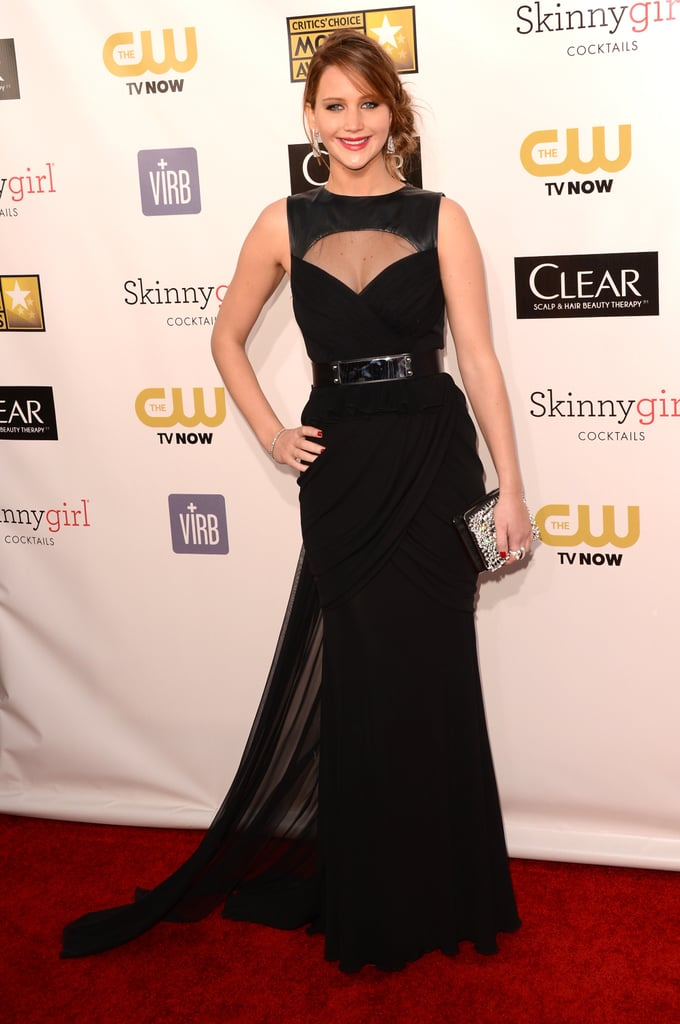 Jennifer Lawrence looked stunning in a black Prabal Gurung gown with a train.