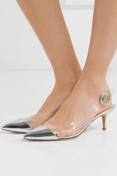 Gianvito Rossi 55 Mirrored-Leather and PVC Slingback Pumps