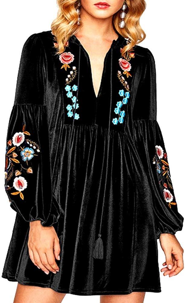 Aofur Boho Embroidered Velvet Dress