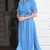 Meghan Markle Work Outfit Idea: A Mid-Length Shirt Dress and Heels