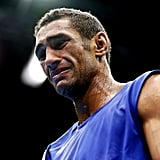 Aboubakr Seddik Lbida of Morocco shed tears after losing his boxing match.