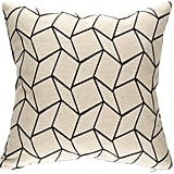 Rejuvenation Geometric and Charcoal Gray Tweed Pillow ($129)