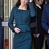 Kate's peplum silhouette was structured yet playful.