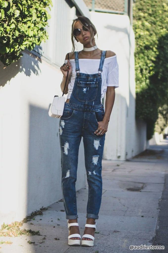 a256066dec29 Forever 21 Distressed Denim Overalls