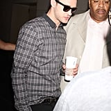 Justin Timberlake wore shades for his early morning stop.