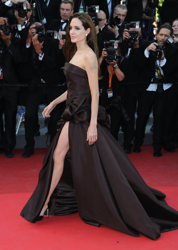 Angelina Jolie joined Brad Pitt at the red carpet world premiere of his Tree of Life at the May 2011 Cannes Film Festival.