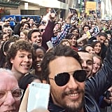 "Birthday boy James Franco captured the excitement outside his show, Of Mice and Men, in NYC on Saturday. ""BROADWAY BIRTHDAY CROWD!!! Thank you!!! Biggest crowd yet!"" he wrote in the caption.  Source: Instagram user jamesfrancotv"