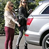 Jessica Alba wore a leather jacket by Simone.