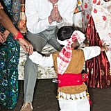 William bowed to a little boy as he performed for the couple during a Bihu Festival Celebration in India in April 2016.