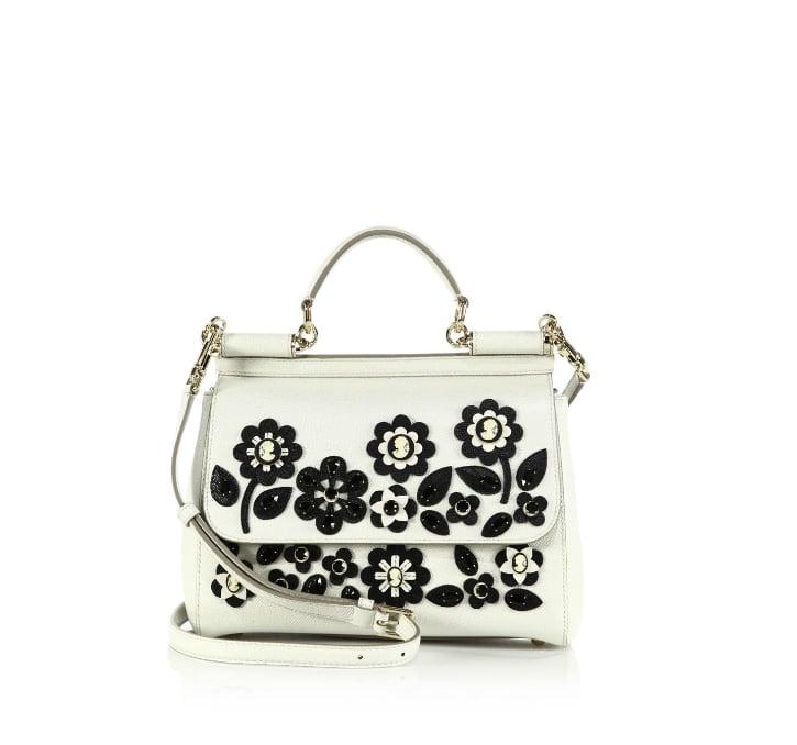 Dolce & Gabbana Sicily Medium Floral Cameo Textured Leather Top-Handle Satchel ($2,995)