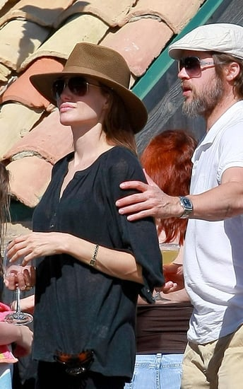 Brad and Angelina at a beach party with friends