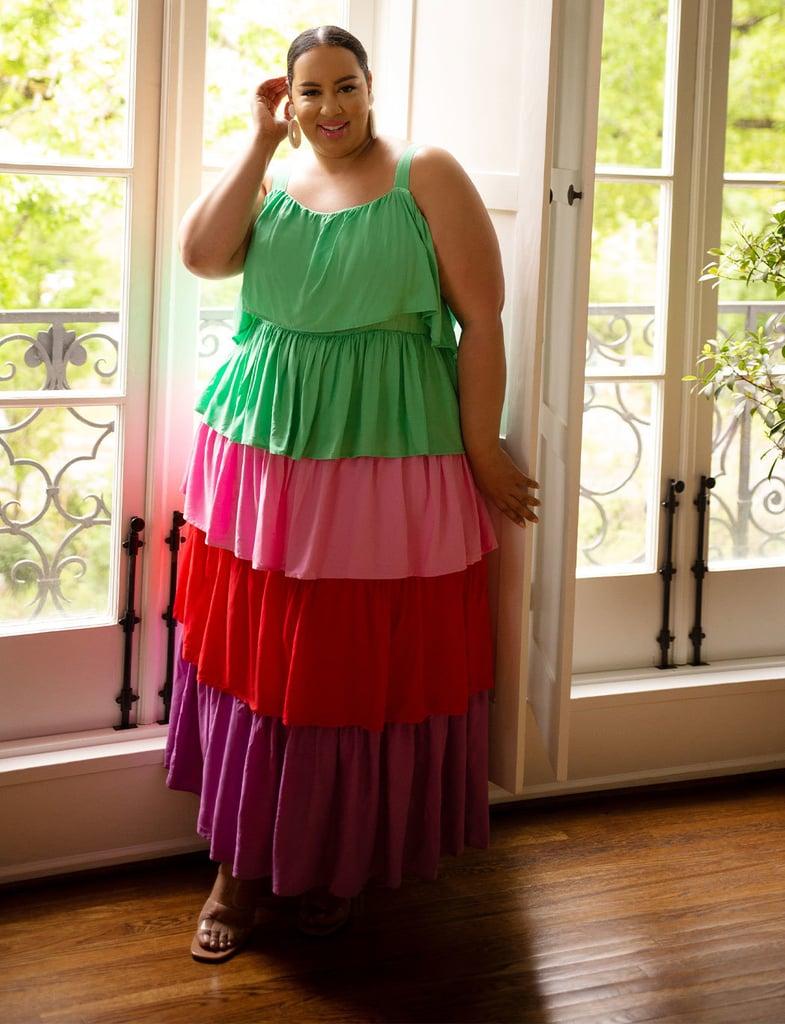 ELOQUII Tiered Rainbow Dress