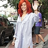 Rihanna waved at fans.