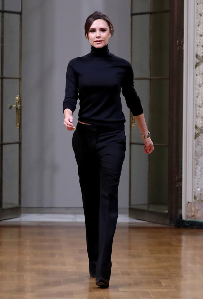 After the Show, Victoria Came Out to Salute Her Audience, Wearing a Black Turtleneck and Black Trousers
