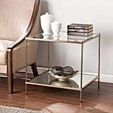Southern Enterprises Kreamer Metal and Glass End Table