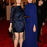The punkiest parts of the Stella McCartney numbers spotted on the designer and Cameron Diaz? For Stella, it was the statement lining that covered the back of her legs like tails on a men's suit. And while Cameron looked covered up, don't be fooled: the cap top partially concealed an open back.