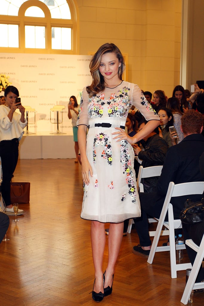 Miranda Kerr struck a pose at the Kora Organics event in Sydney on Tuesday.