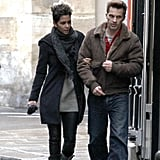Halle Berry and Olivier Martinez kept close as they walked together.