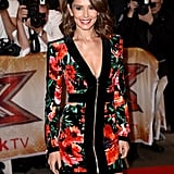 At the press launch of The X Factor 2015, Cheryl stunned in a zip-up Balmain minidress.